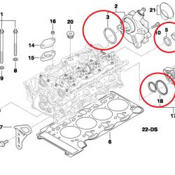 Уплотнительные кольца задней стенки гбц BMW N46